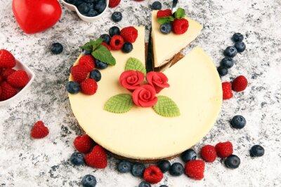 Fototapeta cheesecake with berries