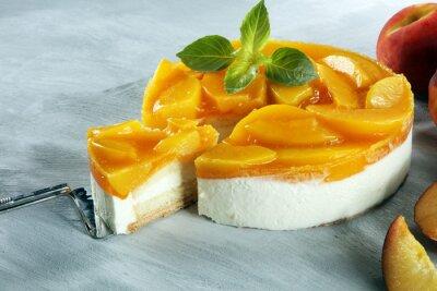 cheesecake with peache. Homemade cream cake with peaches