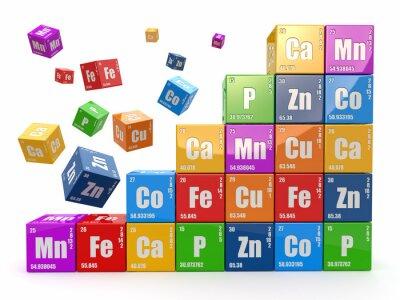 Fototapeta Chemia koncepcji. Ściany z kostek okresowego wiyh tabeli elemen