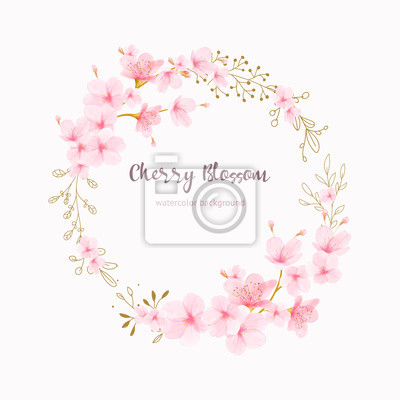 Fototapeta Cherry blossom frame Floral watercolor