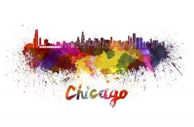 Fototapeta Chicago skyline w akwareli