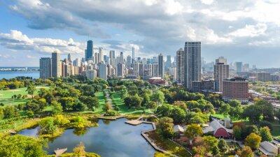 Fototapeta Chicago skyline z lotu ptaka drone widok z góry, jezioro Michigan i miasto w Chicago wieżowce panoramę miasta z Lincoln Park, Illinois, USA