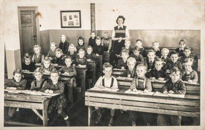 Fototapeta Children classmates teacher classroom Vintage photo