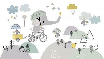 Fototapeta Children's drawing, children's wallpaper, an elephant on a bicycle