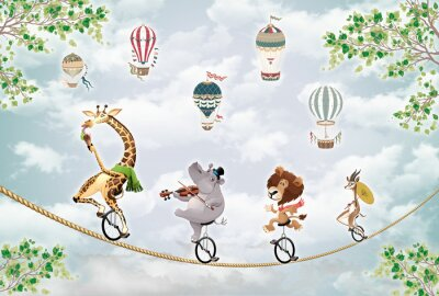 Fototapeta children's picture, animals on a wheel ride on a tightrope against the sky with balloons