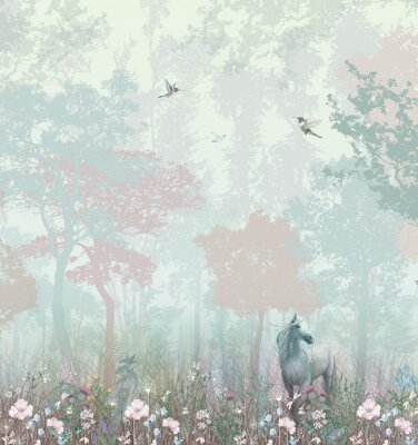 Fototapeta Children's wallpaper. Blue and pink forest. Fairy forest with horse and caliber.