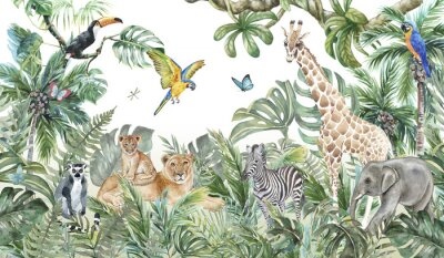 Fototapeta Children's wallpaper, watercolor jungle and animals. Lions, giraffe, elephant, parrots, zebra, lemur