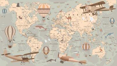 Fototapeta childrens retro world map with balloons and animals