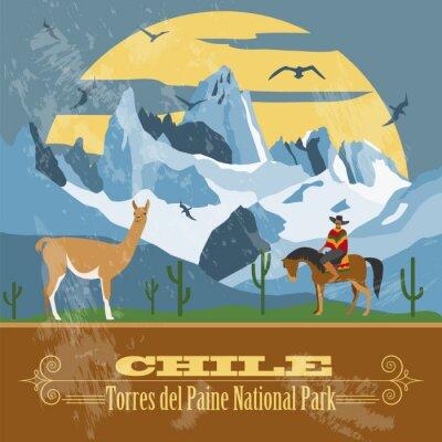Fototapeta Chile punkty orientacyjne. Retro stylizowany wizerunek.