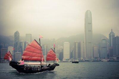 Fototapeta chinese jachtu style w Hong Kongu