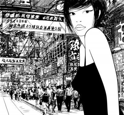 Fototapeta chiński dziewczyna w Hong Kongu