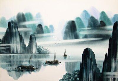 Fototapeta Chiński krajobraz akwarela