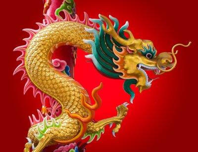 Fototapeta chiński smok z czerwonym tle