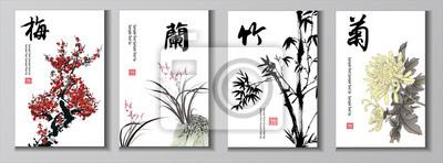 Fototapeta Chiński zestaw malowania. Chińskie znaki: czereśnia orchidei bambusa mama