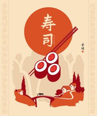Fototapeta Chiński znak sushi przeciwko krajobrazu wsi górskich