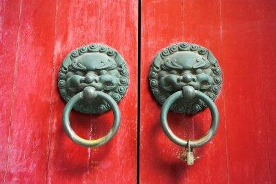 Fototapeta Chińskie drzwi czerwone bramy lew drzwi z gałką