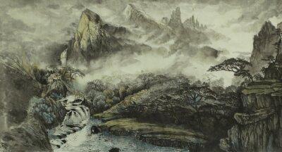 Fototapeta Chińskie góry, wodospad i mały dom