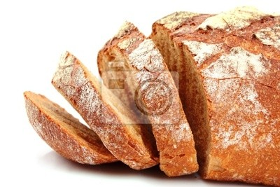 Chleb samodzielnie na białym tle