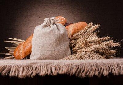 Fototapeta Chleb, worek mąki i uszy grono still life