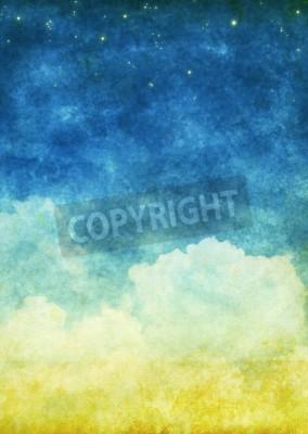 Fototapeta chmury i niebo na starym papierze grunge