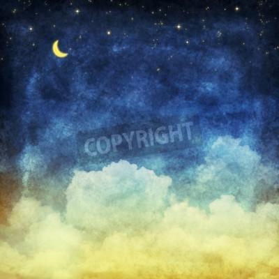 Fototapeta chmury i niebo w nocy, żółte i niebieskie tło