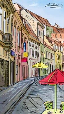 Fototapeta Chorwacja, miasto, ulica - ilustracji