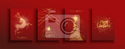 Fototapeta Christmas and new year gold glitter luxury card set