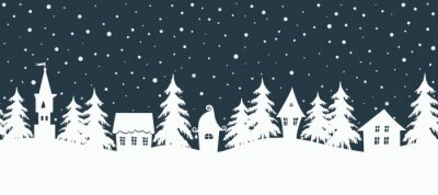 Fototapeta Christmas background. Fairy tale winter landscape. Seamless border. There are white houses and fir trees on a dark blue background. Winter village. Vector illustration