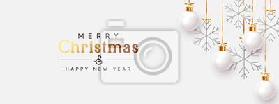 Fototapeta Christmas balls background. Hanging white Xmas decorative bauble, 3d silver metallic snowflakes on the ribbon. Festive vector realistic decor ornaments