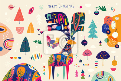 Christmas banner with amazing colorful deer and bird and others