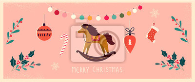 Fototapeta Christmas banner with horse and Christmas toys in vintage style