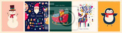 Fototapeta Christmas banner with snowman, sleigh, deer, penguin and Christmas toys in vintage style