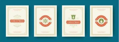 Fototapeta Christmas cards set vintage typographic design ornate decorations symbols with winter holidays wish vector illustration