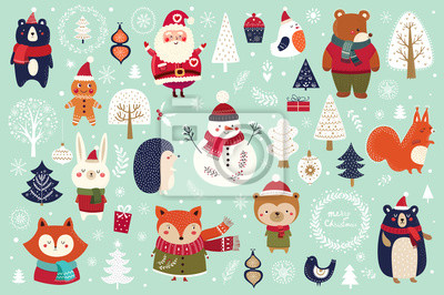 Christmas decorative banner with funny Santa Claus, snowman and many others.