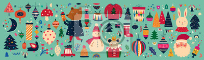 Christmas decorative banner with funny Santa Claus, snowman, gift boxes and toys in vintage style