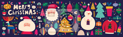 Fototapeta Christmas decorative banner with incredible characters in vintage style