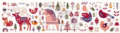 Fototapeta Christmas decorative banner with little horse, christmas deer, fox and birds