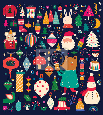 Christmas decorative collection with incredible characters in vintage style