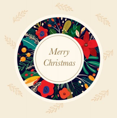 Fototapeta Christmas decorative greeting illustration in vintage style