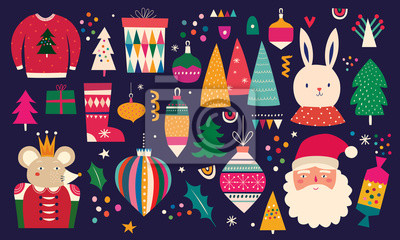 Fototapeta Christmas decorative illustration in vintage style