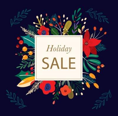 Fototapeta Christmas decorative illustration in vintage style. Holiday sale