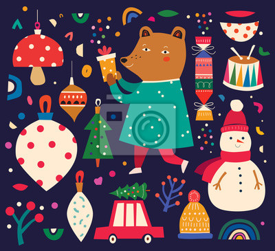 Christmas decorative illustration in vintage style with funny bear and snowman