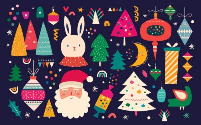 Fototapeta Christmas decorative illustration in vintage style with great ones