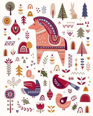 Christmas decorative illustration with bird and little horse. Scandinavian folk style.