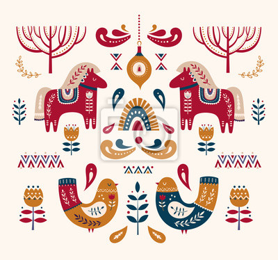 Christmas decorative illustration with bird and little horses. Scandinavian folk style.