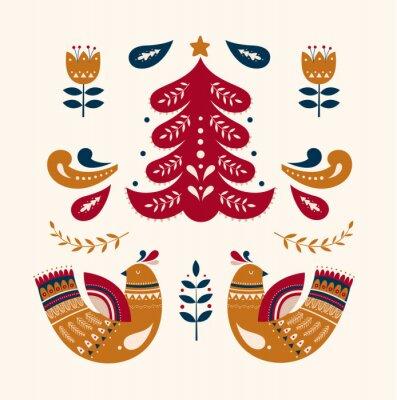 Christmas decorative illustration with Christmas tree and birds. Scandinavian folk style.