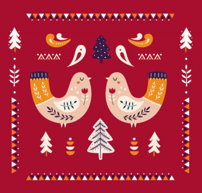 Fototapeta Christmas decorative illustration with Christmas tree and birds. Scandinavian folk style.