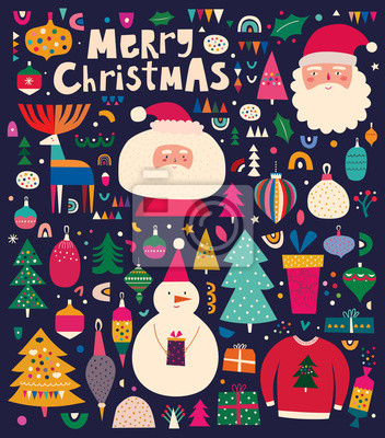 Fototapeta Christmas decorative illustration with incredible characters in vintage style