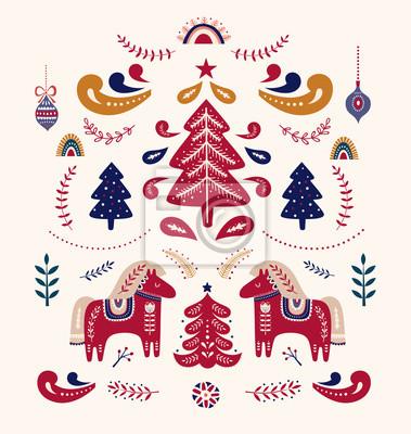 Fototapeta Christmas decorative illustration with little horses and Christmas tree. Scandinavian folk style.