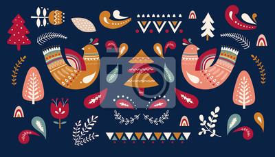 Christmas decorative illustration with tree and birds. Scandinavian folk style.